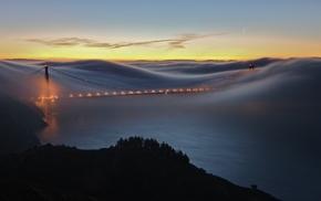 Golden Gate Bridge, mist, bay, clouds, San Francisco
