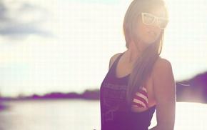 blonde, sunglasses, girl, sunlight, overalls, bikini tops