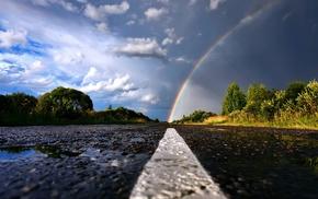 road, rainbows, nature