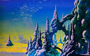 clouds, sky, painting, Roger Dean, floating island, people
