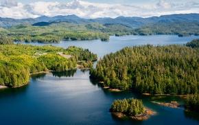spring, landscape, mountain, lake, Alaska, island