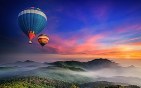 mist, nature, landscape, balloons, hot air balloons, sunset