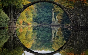 bridge, landscape, Germany, fall, river, colorful