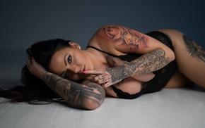 blue eyes, Thomas Mark Jensen, tattoo, sideboob, cleavage, girl