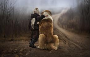 depth of field, dog, animals, children