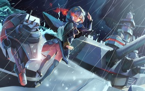 rain, battleships, hoods, anime girls, Re, Class Battleship