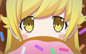 Oshino Shinobu, anime, yellow eyes, blonde, Monogatari Series, anime girls