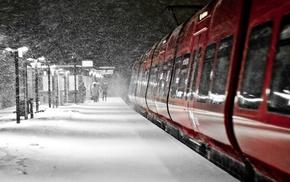 snow, train, night, vehicle
