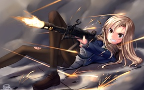 torn pantyhose, anime girls, anime, original characters, girl with guns, scarf