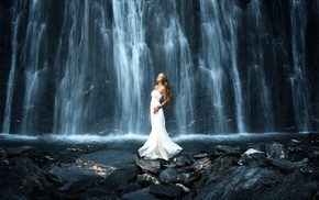 model, waterfall, rock, blonde, long exposure, stones