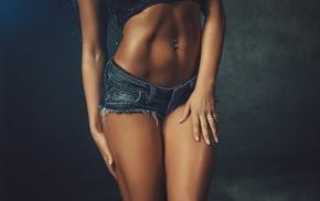 simple background, girl, jean shorts, brunette, pierced navel