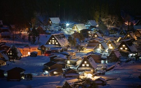 Japan, village, landscape, trees, lights, nature