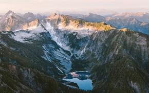 mountain, water, sunrise, snow, lake, mist