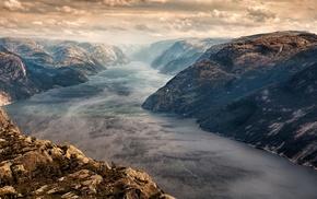 nature, fjord, landscape, sunset, mist, clouds