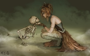 artwork, death, witch, fantasy art, skeleton