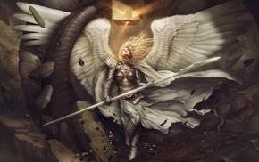 hery, cape, girl, armor, spear, angel