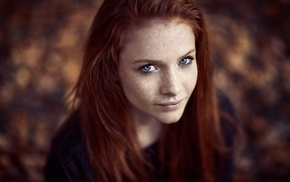 depth of field, girl, freckles, redhead, model, blue eyes
