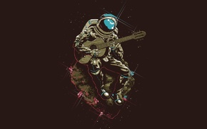 artwork, guitar, astronaut, minimalism