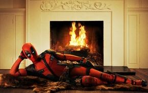 Deadpool, Ryan Reynolds, movies, fireplace