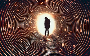 photography, spiral, men, silhouette, lights, tunnel
