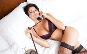 fishnet stockings, legs  crossed, lying down, flat belly, telephone, open mouth
