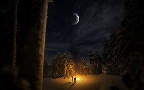 snow, moon, campfire, stars, trees, nature