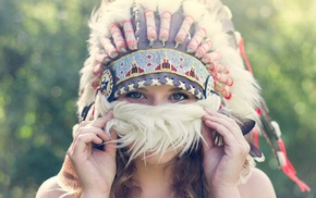 long hair, portrait, Native American clothing, feathers, hand, brunette