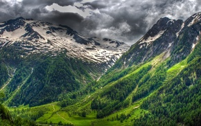 mountain, nature, landscape, snowy peak, spring, grass