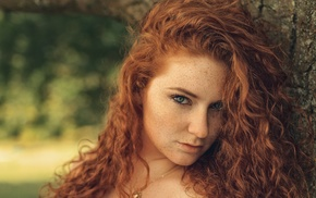 eyes, redhead, sensual gaze, freckles, looking at viewer, trees