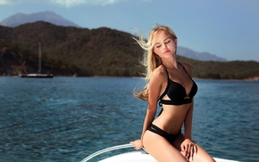 sea, Ivan Gorokhov, blonde, yacht, bikini, pierced navel