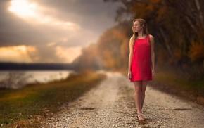 Jake Olson, clouds, sunlight, path, legs, red dress