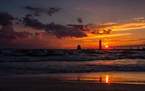 coast, silhouette, landscape, people, house, sunset