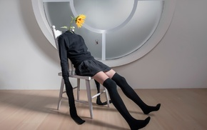 photo manipulation, sweater, digital art, knee length socks, sitting, skirt