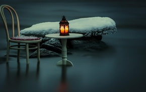 table, icicle, lamps, water, winter, ice