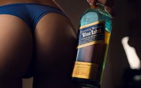 whisky, girl, ass, blue panties, back