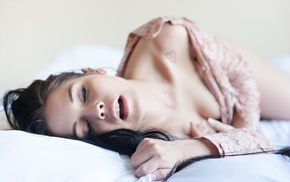 brunette, girl, lying on side, closed eyes, open mouth, depth of field