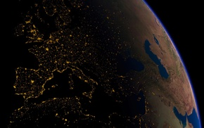 Earth, Europe, space, lights
