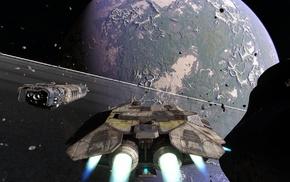 planet, spaceship, rings, space