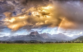 clouds, sunlight, sky, landscape, rainbows, field