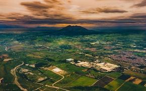 volcano, landscape, clouds, nature, sunset, city