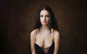 simple background, boobs, girl, portrait, model, Alla Berger