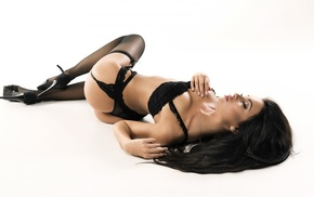garter belt, closed eyes, black stockings, ass, stockings, white background