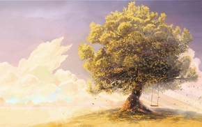 clouds, fantasy art, artwork, swings, trees