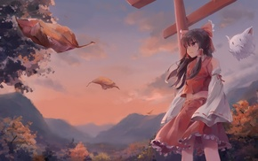 Touhou, building, shrine, miko, Japanese clothes, leaves