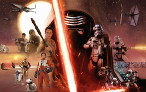 Captain Phasma, Chewbacca, BB, 8, TIE Fighter, Star Wars Episode VII