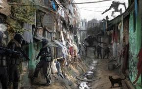 soldier, cat, robot, artwork, futuristic