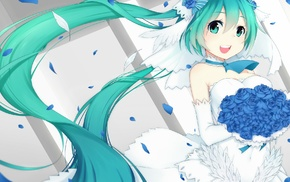 Vocaloid, flowers, Hatsune Miku, twintails, wedding dress, anime girls
