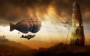 Zeppelin, airships, people, ropes, painting, hot air balloons