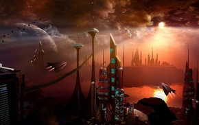 clouds, futuristic, flying, spaceship, sunlight, science fiction
