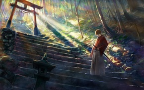 stairs, Asian architecture, fantasy art, Japanese clothes, Himura Kenshin, digital art